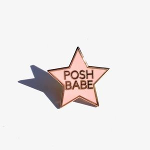 "POSH BABE PIN 1"" ROSE GOLD LIMITED EDITION ART NWT"